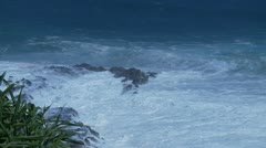 Large Surf Breaking on Snapper Rocks, QLD Stock Footage