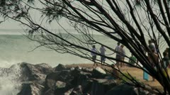 People Watching Large Surf, Kirra point Stock Footage