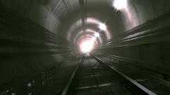 Ride through old looking rail tunnel Stock Footage