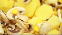 Potatoes mushrooms and corn Stock Footage