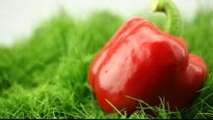 Pepper drops on the grass Stock Footage