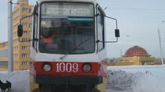 Tram number 1 departs from a stop. Stock Footage