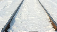 Winter landscape along the railway line  with lots of fresh snow. HD H.264 Stock Footage
