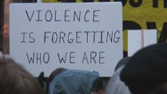 'Violence is Forgetting Who We Are.' - Iraq War protest in Federal Plaza - Chica Stock Footage