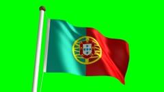 Portugal flag (Loop & green screen) Stock Footage