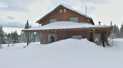 Shoveling Snow Drift Off Deck After Blizzard 3b Stock Footage
