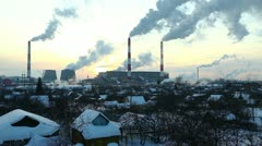 Village near termal power station at sunset Stock Footage