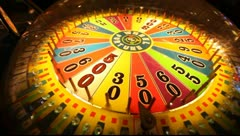Las Vegas Arcade Wheel of Fortune 01 Stock Footage