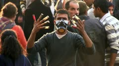 Tahrir protester Stock Footage