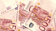 500 Euros 08 rotating extreme closeup Stock Footage