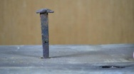 Hammer & vintage square nail; circa 1700's Stock Footage