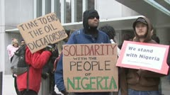 World Bank protesters picket removal of Nigerian fuel subsidies Stock Footage