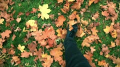 Man walks through the fallen leaves - stock footage