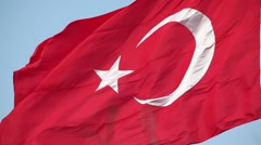 Turkish flag waving in the wind Stock Footage