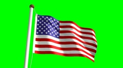USA flag (with green screen) Stock Footage