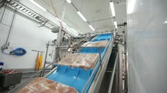 Processing of meat production conveyor Stock Footage