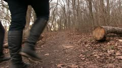 Mother and Daughter walking in woods Stock Footage