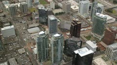 Approaching City Buildings From Overhead - stock footage
