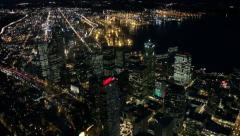 Overhead Perspective Looking Down on Downtown Seattle at Night Stock Footage