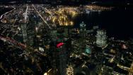 Stock Video Footage of Overhead Perspective Looking Down on Downtown Seattle at Night