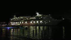 Cruise boat leaving Bonaire - stock footage