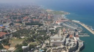 Stock Video Footage of Aerial of Israeli Coastline, Port of Jaffa, Israel