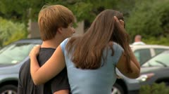 teen couple walking - stock footage