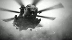 Grey Military Helicopter landing  - stock footage