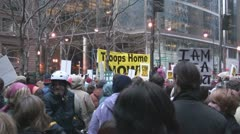 Iraq War protest in Federal Plaza - Chicago, IL Stock Footage