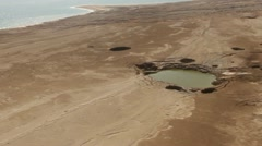 Israeli Dead Sea Shoreline and Pits, Aerial Stock Footage