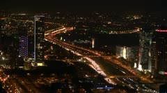 Tel Aviv night view 3 Stock Footage