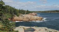 Stock Video Footage of Acadia Thunder Hole coastline