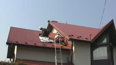 Roof painting Stock Footage