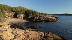 Monument Cove and Gorham Mountain, Acadia National Park, Maine - stock footage