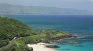 Waimea Bay, Oahu, Hawaii from above Stock Footage