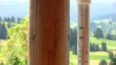 Thermometer on porch Stock Footage