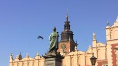 Krakow, Mickiewicz Monument Stock Footage
