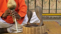 Snake charmer playing flute with Cobra in Basket in Jaipur, India Stock Footage