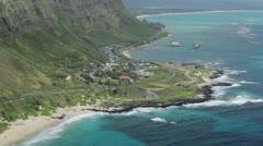 Southeast Oahu coast from above Stock Footage