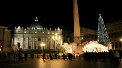 Nativity and Christmas tree in front of St. Peter's Basilica - Timelapse - stock footage