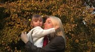 Stock Video Footage of Daughter and mother at autumn