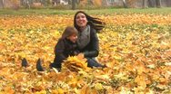 Stock Video Footage of Mother and daughter at autumn