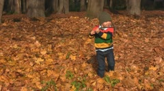 Boy robs leaves Stock Footage