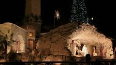 Nativity and Christmas tree in front of St. Peter's Basilica Stock Footage