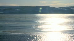Ice Floating Down A Frozen River. Scottish Countryside. Stock Footage