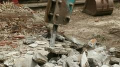 Concrete Demolition Machine (HD) Stock Footage