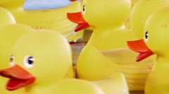 Yellow rubber ducks floating Stock Footage