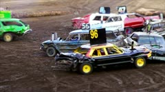 Demolition derby - stock footage
