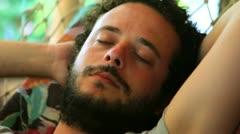 Sleeping On hammock - stock footage
