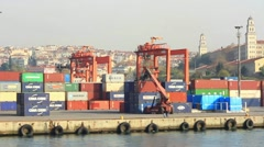 Mobile container crane runs in the sea port Stock Footage